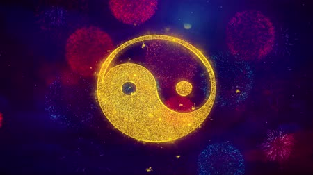 yin and yang : Yin Yang Taoism buddhism daoism religion Icon Symbol on Colorful Fireworks Particles. Object, Shape, Design, Text, Element, 4K Loop Animation. Stock Footage