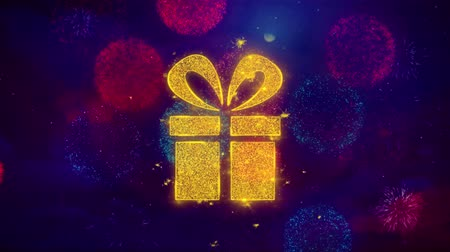 happy holidays : Red Ribbon Gift Box Present Icon Symbol on Colorful Fireworks Particles. Object, Shape, Design, Text, Element, 4K Loop Animation.