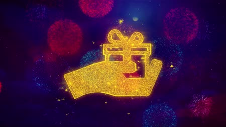 kerstpakket : Birthday, box, gift, giftbox, hand, give Icon Symbol on Colorful Fireworks Particles. Object, Shape, Design Text Element 4K Loop Animation