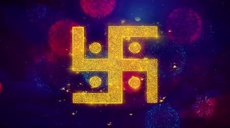 sanskrit : Hindu, holy, indian, religion, swastik, swastika Icon Symbol on Colorful Fireworks Particles. Object, Shape, Design Text Element 4K Loop Animation