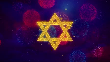 pascha : David The Jewish star Religion Icon Symbol on Colorful Fireworks Particles. Object, Shape, Design, Text, Element, 4K Loop Animation.