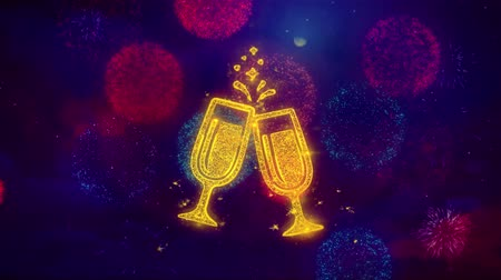 na zdraví : Cheers Celebration Toast Two Glasses Champagne Icon Symbol on Colorful Fireworks Particles. Object, Shape, Design, Text, Element, 4K Loop Animation. Dostupné videozáznamy