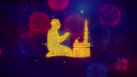 vybírání : Islamic, pray, prayer, ramadan, religion Icon Symbol on Colorful Fireworks Particles. Object, Shape, Design, Text Element 4K Loop Animation Dostupné videozáznamy