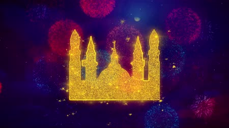 isztambul : Islamic Icon, Mosque religious, muslim Icon Symbol on Colorful Fireworks Particles. Object, Shape, Design, Text, Element, 4K Loop Animation. Stock mozgókép