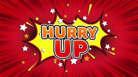 hurry up : Hurry Up Text Pop Art Style Expression. Retro Comic Bubble Expression Cartoon illustration, Sale, Discounts, Percentages, Deal, Offer on Green Screen