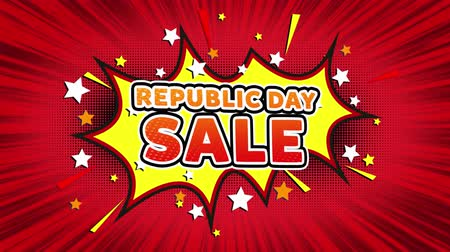 saffraan : Republic Day Sale Text Pop Art Style Expression. Retro Comic Bubble Expression Cartoon illustration, Sale, Discounts, Percentages, Deal, Offer on Green Screen