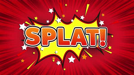 엉망 : Splat! Text Pop Art Style Expression. Retro Comic Bubble Expression Cartoon illustration, Isolated Flat Cartoon Comic Style on Green Screen