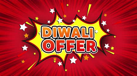 Индия : Diwali Offer Text Pop Art Style Expression. Retro Comic Bubble Expression Cartoon illustration, Sale, Discounts, Percentages, Deal, Offer on Green Screen