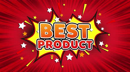 reclame : Best Product Text Pop Art Style Expression. Retro Comic Bubble Expression Cartoon illustratie, verkoop, kortingen, percentages, deal, aanbieding op groen scherm