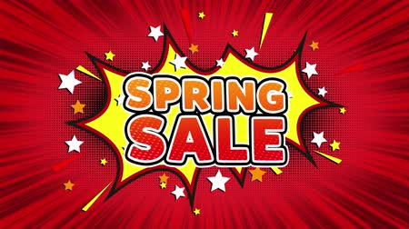 shops : Spring sale Text Pop Art Style Expression. Retro Comic Bubble Expression Cartoon illustration, Sale, Discounts, Percentages, Deal, Offer on Green Screen