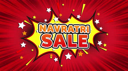 puja : Navratri Sale Text Pop Art Style Expression. Retro Comic Bubble Expression Cartoon illustration, Sale, Discounts, Percentages, Deal, Offer on Green Screen Stock Footage