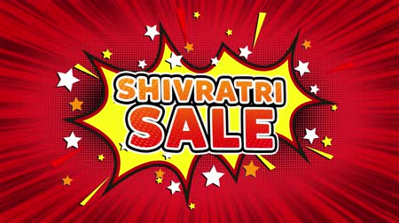 bálvány : Shivratri Sale Text Pop Art Style Expression. Retro Comic Bubble Expression Cartoon illustration, Sale, Discounts, Percentages, Deal, Offer on Green Screen Stock mozgókép