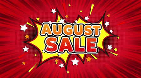 üç renkli : August Sale Text Pop Art Style Expression. Retro Comic Bubble Expression Cartoon illustration, Sale, Discounts, Percentages, Deal, Offer on Green Screen Stok Video