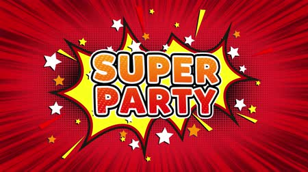 flyer design : Super Party Text Pop Art Style Ausdruck. Retro Comic Bubble Expression Cartoon Illustration, isolierte flache Cartoon Comic-Stil auf Green Screen
