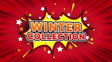 detailhandel : Wintercollectie Tekst Pop Art Style Expression. Retro Comic Bubble Expression Cartoon afbeelding, geïsoleerde platte Cartoon komische stijl op groen scherm