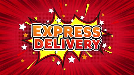postpakketje : EXPRESS LEVERING Tekst Pop Art Style Expression. Retro komische Bubble expressie Cartoon illustratie, geïsoleerde Flat Cartoon komische stijl op groen scherm Stockvideo