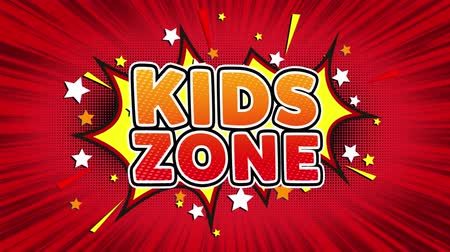 plakat : Kids zone Text Pop Art Style Expression. Retro Comic Bubble Expression Cartoon illustration, Isolated Flat Cartoon Comic Style on Green Screen Wideo
