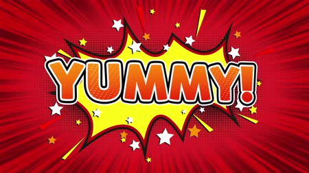 yum yum : Yummy! Text Pop Art Style Expression. Retro Comic Bubble Expression Cartoon illustration, Isolated Flat Cartoon Comic Style on Green Screen