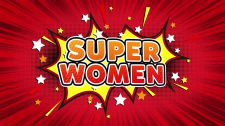 powerful : Super Women Text Pop Art Style Expression. Retro Comic Bubble Expression Cartoon illustration, Isolated Flat Cartoon Comic Style on Green Screen