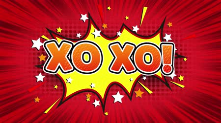 handkuss : XO XO! Text Pop Art Style Ausdruck. Retro Comic Bubble Expression Cartoon Illustration, isolierte flache Cartoon Comic-Stil auf Green Screen