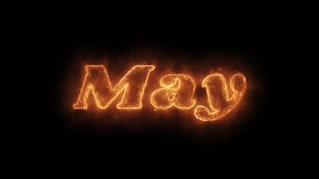 anual : May Word Hot Animated Burning Realistic Fire Flame and Smoke Seamlessly loop Animation on Isolated Black Background. Fire Word, Fire Text, Flame word, Flame Text, Burning Word, Burning Text.