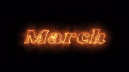 mángorlógép : March Word Hot Animated Burning Realistic Fire Flame and Smoke Seamlessly loop Animation on Isolated Black Background. Fire Word, Fire Text, Flame word, Flame Text, Burning Word, Burning Text.