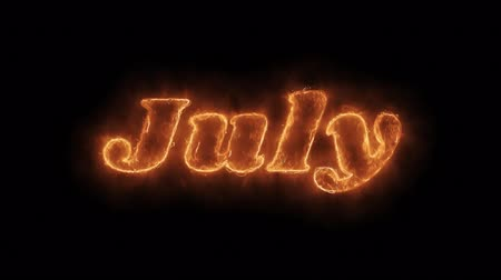 anual : July Word Hot Animated Burning Realistic Fire Flame and Smoke Seamlessly loop Animation on Isolated Black Background. Fire Word, Fire Text, Flame word, Flame Text, Burning Word, Burning Text.