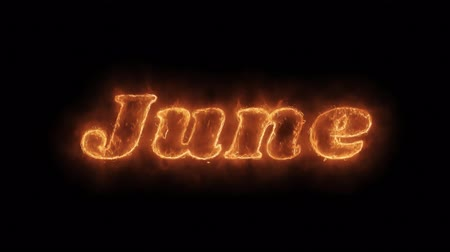 anual : June Word Hot Animated Burning Realistic Fire Flame and Smoke Seamlessly loop Animation on Isolated Black Background. Fire Word, Fire Text, Flame word, Flame Text, Burning Word, Burning Text.