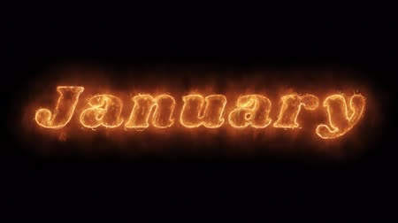 mángorlógép : January Word Hot Animated Burning Realistic Fire Flame and Smoke Seamlessly loop Animation on Isolated Black Background. Fire Word, Fire Text, Flame word, Flame Text, Burning Word, Burning Text.