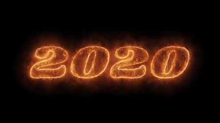 축 하 하 : New Year 2020 Word Hot Animated Burning Realistic Fire Flame and Smoke Seamlessly loop Animation on Isolated Black Background. Fire Word, Fire Text, Flame word, Flame Text, Burning Word, Burning Text.