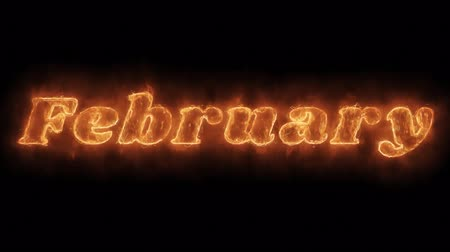 mensal : February Word Hot Animated Burning Realistic Fire Flame and Smoke Seamlessly loop Animation on Isolated Black Background. Fire Word, Fire Text, Flame word, Flame Text, Burning Word, Burning Text.