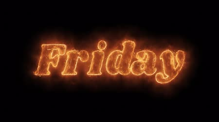 čtvrtek : Friday Word Hot Animated Burning Realistic Fire Flame and Smoke Seamlessly loop Animation on Isolated Black Background. Fire Word, Fire Text, Flame word, Flame Text, Burning Word, Burning Text. Dostupné videozáznamy