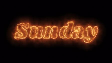 semanal : Sunday Word Hot Animated Burning Realistic Fire Flame and Smoke Seamlessly loop Animation on Isolated Black Background. Fire Word, Fire Text, Flame word, Flame Text, Burning Word, Burning Text.
