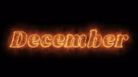 yıllık : December Word Hot Animated Burning Realistic Fire Flame and Smoke Seamlessly loop Animation on Isolated Black Background. Fire Word, Fire Text, Flame word, Flame Text, Burning Word, Burning Text. Stok Video