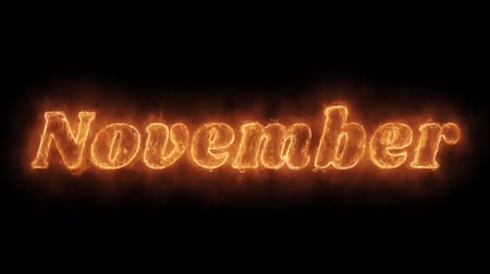 anual : November Word Hot Animated Burning Realistic Fire Flame and Smoke Seamlessly loop Animation on Isolated Black Background. Fire Word, Fire Text, Flame word, Flame Text, Burning Word, Burning Text.