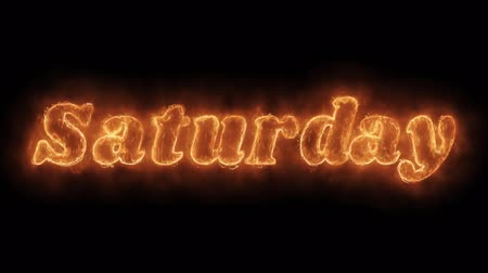 sobota : Saturday Word Hot Animated Burning Realistic Fire Flame and Smoke Seamlessly loop Animation on Isolated Black Background. Fire Word, Fire Text, Flame word, Flame Text, Burning Word, Burning Text.