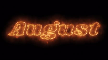 anual : August Word Hot Animated Burning Realistic Fire Flame and Smoke Seamlessly loop Animation on Isolated Black Background. Fire Word, Fire Text, Flame word, Flame Text, Burning Word, Burning Text.
