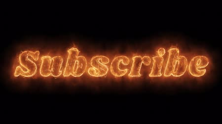hírlevél : Subscribe Word Hot Animated Burning Realistic Fire Flame and Smoke Seamlessly loop Animation on Isolated Black Background. Fire Word, Fire Text, Flame word, Flame Text, Burning Word, Burning Text.