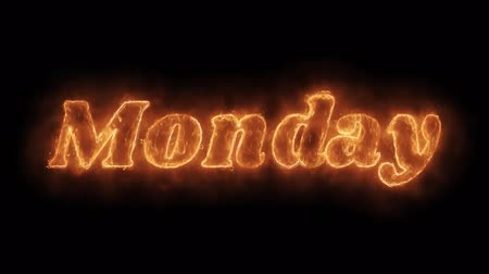 úterý : Monday Word Hot Animated Burning Realistic Fire Flame and Smoke Seamlessly loop Animation on Isolated Black Background. Fire Word, Fire Text, Flame word, Flame Text, Burning Word, Burning Text.