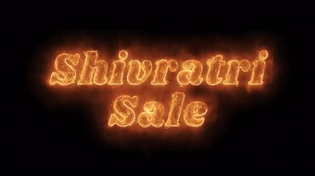 cabeçalho : Shivratri Sale Word Hot Animated Burning Realistic Fire Flame and Smoke Seamlessly loop Animation on Isolated Black Background. Fire Word, Fire Text, Flame Text, Burning Word, Burning Text. Vídeos