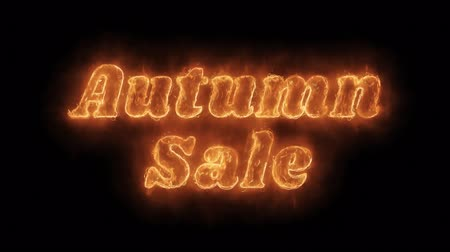 seasonal sale : Autumn Sale Word Hot Animated Burning Realistic Fire Flame and Smoke Seamlessly loop Animation on Isolated Black Background. Fire Word, Fire Text, Flame word, Flame Text, Burning Word, Burning Text.