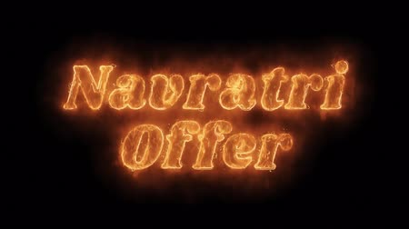 dussehra : Navratri Offer Word Hot Animated Burning Realistic Fire Flame Seamlessly loop Animation on Isolated Black Background. Fire Word, Fire Text, Flame word, Flame Text, Burning Word, Burning Text.