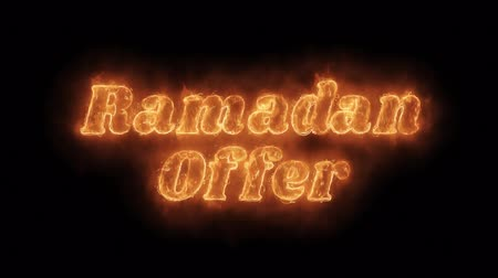 erkeklere özel : Ramadan Offer Word Hot Animated Burning Realistic Fire Flame and Smoke Seamlessly loop Animation on Isolated Black Background. Fire Word, Fire Text, Flame word, Flame Text, Burning Word, Burning Text. Stok Video
