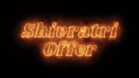 cabeçalho : Shivratri Offer Word Hot Animated Burning Realistic Fire Flame and Smoke Seamlessly loop Animation on Isolated Black Background. Fire Word, Fire Text, Flame Text, Burning Word, Burning Text.