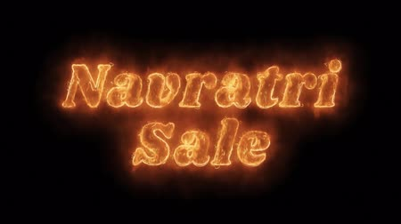 dussehra : Navratri Sale Word Hot Animated Burning Realistic Fire Flame and Smoke Seamlessly loop Animation on Isolated Black Background. Fire Word, Fire Text, Flame word, Flame Text, Burning Word, Burning Text.