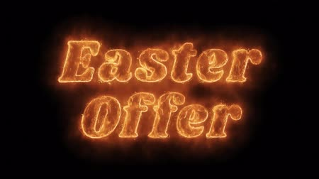 nyuszi : Easter Offer Word Hot Animated Burning Realistic Fire Flame and Smoke Seamlessly loop Animation on Isolated Black Background. Fire Word, Fire Text, Flame word, Flame Text, Burning Word, Burning Text. Stock mozgókép