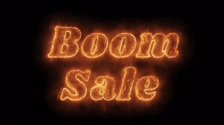 проданный : Boom Sale Word Hot Animated Burning Realistic Fire Flame and Smoke Seamlessly loop Animation on Isolated Black Background. Fire Word, Fire Text, Flame word, Flame Text, Burning Word, Burning Text.