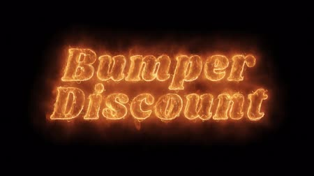ötvenes : Bumper Discount Word Hot Animated Burning Realistic Fire Flame and Smoke Seamlessly loop Animation on Isolated Black Background. Fire Word, Fire Text, Flame Text, Burning Word, Burning Text.