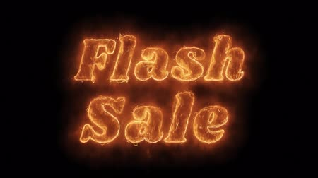 hoje : Flash Sale Word Hot Animated Burning Realistic Fire Flame and Smoke Seamlessly loop Animation on Isolated Black Background. Fire Word, Fire Text, Flame word, Flame Text, Burning Word, Burning Text.