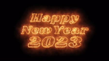 cny : Happy New Year 2023 Word Hot Animated Burning Realistic Fire Flame and Smoke Seamlessly loop Animation on Isolated Black Background. Fire Word, Fire Text, Flame Text, Burning Word, Burning Text.
